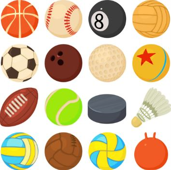 illustration of multiple types of sports balls