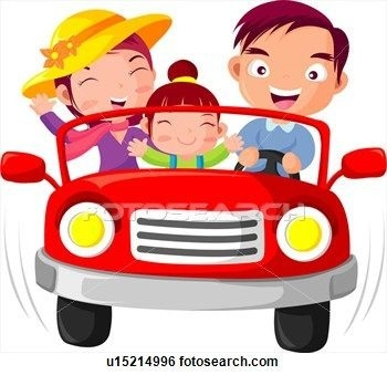 Cartoon Family riding in red car
