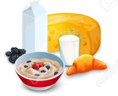 Illustrated image of milk, cheese, oatmeal and other food items