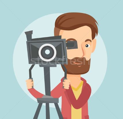 Illustration of a guy behind a camera tripod taking a picture.