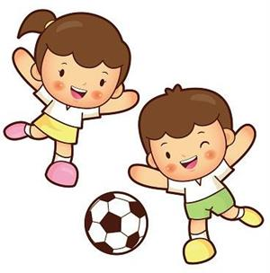 two illustrated kids kicking a soccer ball