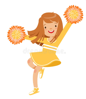 Clip art of a girl in a yellow cheerleading outfit
