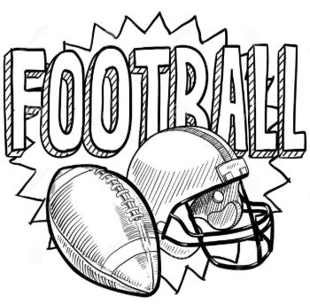 "Illustration that shows a football, helmet and the word ""football"""