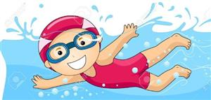 illustration of a kid in a pink swimsuit swimming