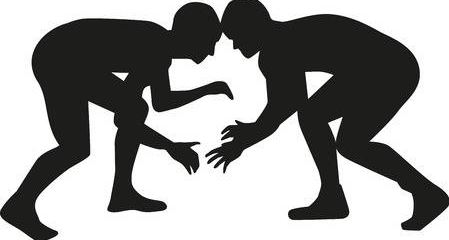 silhouette of two wrestlers